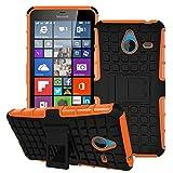 Owbb Hülle für Microsoft Lumia 640 XL Dual-SIM Handyhülle Hartes Silikon PC + TPU Hybrid Combo Zweilagig Case mit Schroff Function Ausklappbarer Ständer Design Reifenmuster Orange
