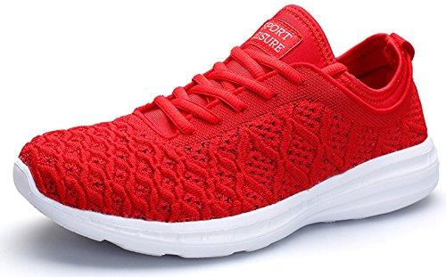 JOOMRA Damen Atmungsaktives Mesh Turnschuhe Freizeit-Schuhe Sportschuhe Fitness Laufschuhe Frauen Mädchen Arbeit Werkstatt Garten Leichte Bequeme Sneaker Rot Weiß 39 (Rot Sneakers Mädchen)