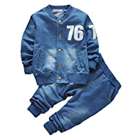 BOBORA Baby Boys Outfits Long Sleeve Denim Coat and Jeans Clothes Set