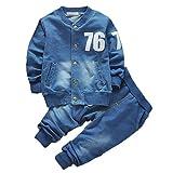Baby Boy Denim Kleidung Set Langarm-Mantel und lange Jean Hosen Kleidung für 0-4 Jahre alt