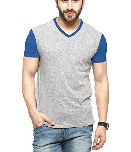 Tripr Men's V-Neck Tshirt Grey Royalblue
