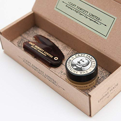 Captain Fawcett's Moustache Wax (Sandalwood Scent) & Folding Pocket Moustache Comb (CF.87T) Gift Set - Made in England by Captain Fawcett's -