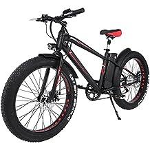 FastDirect Bicicleta de Montaña Eléctrica Rueda de 26 '' E-bike Batería de Litio 300W 36V 10Ah Shimano 6 velocidades Bicicleta de Gruesas ruedas batería desmontable Bicicleta de nieve Playa (Negro)