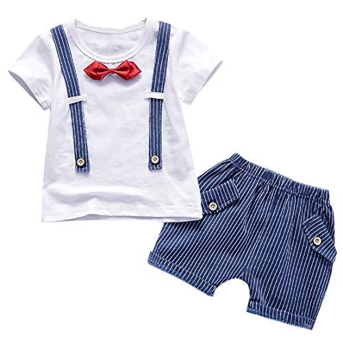d Baby Jungen Gentleman Bogen T-Shirt Tops Shorts Hosen Outfits Kleidung Set (Blau, L) ()