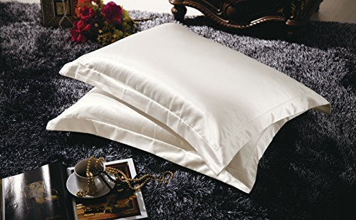 Serenta 70% Seide 30% Baumwolle Seide Baumwolle Kissenbezug, King Size, Weiß