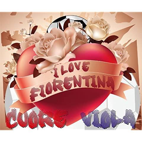 Felpudo diseño I Love Fútbol Fiorentina Corazón Violeta cm. 60x 50Alfombra feltrogomma secador suciedad