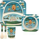 Kindergeschirr aus Bambus, Kindergeschirr-Set mit quadratischen Bambusplatten, Kleinkinderbesteck, Bambus Schale und Kinderbecher, umweltfreundlich, BPA-frei und spülmaschinenfest - Bienen-Design
