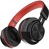 Darkiron Bluetooth Auriculares micrófono incorporado Auricular inalámbrico con tarjeta TF de radio FM y Extra Cable de audio para la mayoría de los teléfonos celulares, iPhone, ordenador portátil, TV, Bluetooth 4.0 Dispositivos (Rojo)