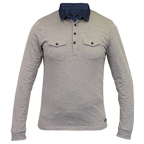 Herren langärmlig Jersey Oberteil Brave Soul Polo Shirt einfarbig Kragen Baumwolle grau - 69gospel