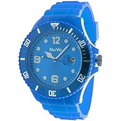 Nuvo - NU13H08 - Unisex Armbanduhr - Quartz - Analog - Blaues Zifferblatt - Blaues Armband aus Silikon - Modisch - Elegant - Stylish