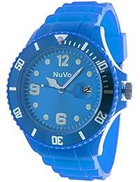 NuVo - NU13H08 - Montre Mixte tendance - Quartz Analogique - Cadran Bleu- Bracelet Silicone Bleu
