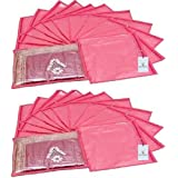 Kuber Industries 24 Piece Non Woven Saree Cover Set, Pink (KI005092)
