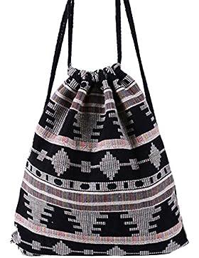 HITOP Harajuku Mode Leinwand geometrische Muster Menschen Umhängetasche Freizeit Kordelzug Kordel Tasche Rucksack 03