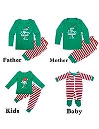 Hibote Conjuntos de Pijamas navideños para niños, niños Varones, Adultos, Pijamas de Navidad