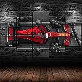 Yywife Stampe e Quadri su Tela 5 Pezzi Tela Wall Art Pit Stop Ferrari incorniciato Charles N f1 Murale Quadri Moderni Soggiorno XXL casa corridoio Decor Regalo Creativo