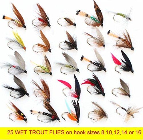 25Forelle Nassfliegen Wet Fliegenfischen Fliegen auf Größen 8, 14, oder 16 Hook size 12 (Fly Dry Hook Barbless)