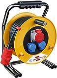 Brennenstuhl Brobusta CEE 1 IP44 Industrie-/Baustellen-Kabeltrommel (30m - Spezialgummi (Einsatz im Außenbereich)) gelb