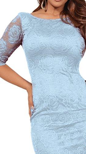 Frauen Blumenspitze Kleid Boot Ausschnitt 3/4 Ärmel Tiefer Rückenausschnitt Cocktailkleid Blau