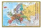 Europa Karte mit Flaggen Wand Diagramm Poster Magnetischer Pinnwand, Eichenholz-Rahmen, 96,5x 66cm (ca. 96,5x 66cm)