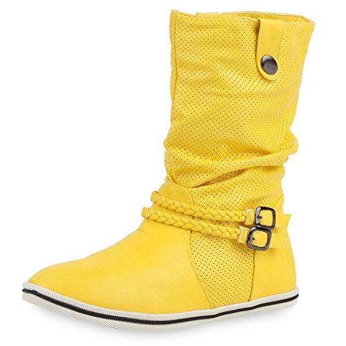 SCARPE VITA Bequeme Damen Stiefel Flache Schlupfstiefel Boots 160432 Gelb Nieten 40