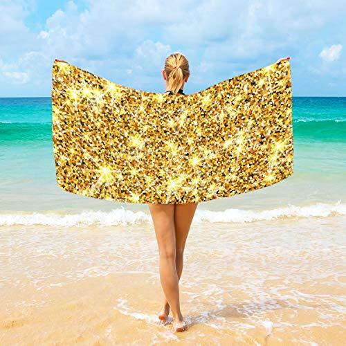 Ahomy Mikrofaser-Strandtücher mit goldfarbenem Glitzer, großes Reise-Handtuch - Ultra saugfähig, schnell trocknend, für Herren, Frauen und Kinder