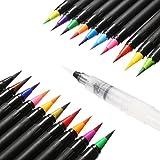 ARTISTORE Pennello Set pennelli per acquerello 20 colori + 1 Pennello per acqua - Colori vivaci Pennello morbido e flessibile per bambini Libri da colorare Adulti Calligrafia Manga Art Comic