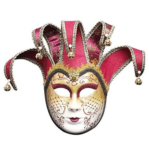 QIMANZI HalloweenMaske Volles Gesicht Venezianischer Joker Maskerade TheatermaskeKarneval PartyBall Maske(D Rot) -