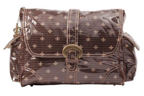 kalencom-laminated-buckle-changing-bag-fleur-de-lis-chocolate-cream-by-kalencom