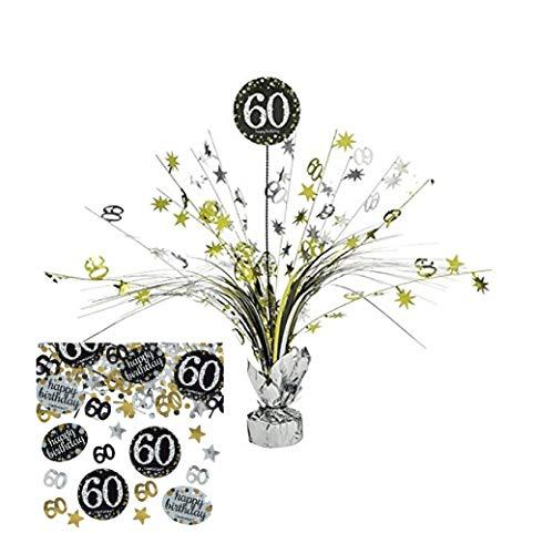 Feste Feiern Tischdekoration 60. Geburtstag I 2 Teile Tischaufsatz Tischaufsteller Kaskade Konfetti 60 Happy Birthday Gold Schwarz Silber metallic Party Deko Set