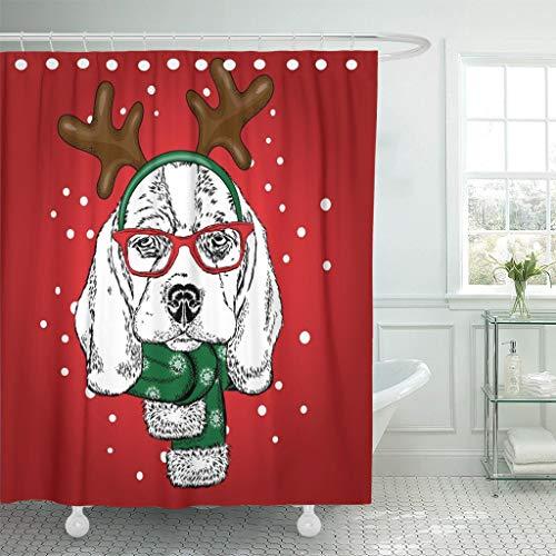 Luancrop Duschvorhang lustiger Hund mit Brille Hörner Welpe in Hirsch Kostüm wasserdichtem Polyester Stoff Set mit - Gebogene Hörner Kostüm