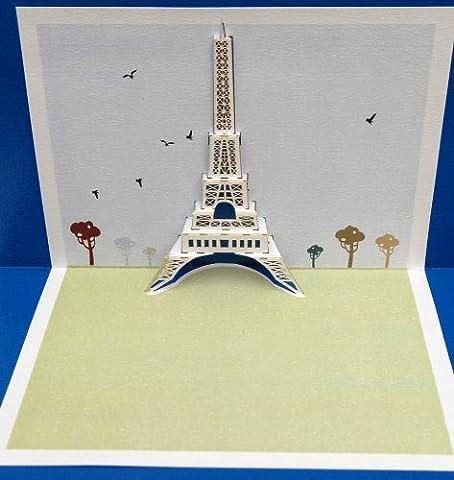 Handgemachte Weihnachtskarte Pop Ups Bauernhoftiere POP21 - Eiffelturm - Laser Pop Up Karte - Greeting Laser Cards
