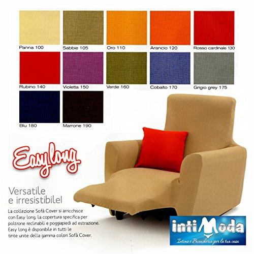 Copripoltrona poltrona reclinabile sofà cover easy long prodotto italiano (grigio grey)