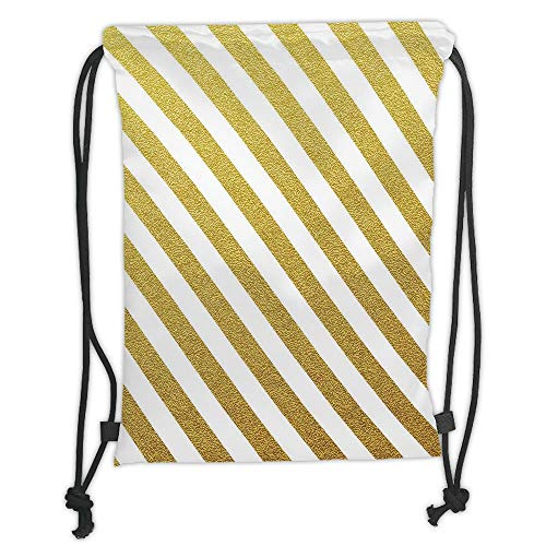WTZYXS Drawstring Sack Backpacks Bags,Gold and White,Sand Like Summer Inspired Horizontal Lines Stripes Modern Art Print,Yellow and White Soft Satin,5 Liter Capacity,Adjustable. -