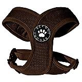 Hundegeschirr Brustgeschirr Mopsgeschirr soft XCross weich gepolstert verstellbar braun Mesh (L: (Brustumfang 47-61 cm))