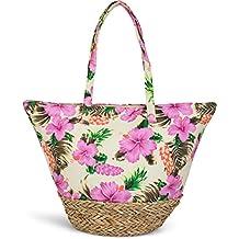 styleBREAKER bolso para la playa con un colorido estampado de hibiscos, rafia en la base