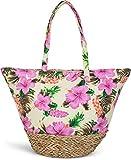 styleBREAKER bolso para la playa con un colorido estampado de hibiscos, rafia en la base y cremallera, bolso de hombro, bolso de tipo «shopper», señora 02012233, Color Amarillo