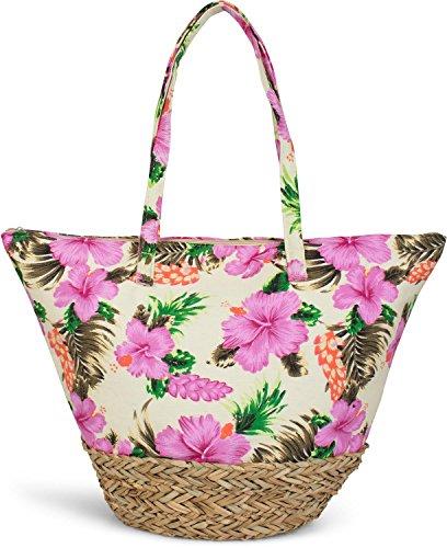 styleBREAKER Strandtasche mit buntem Hibiskus Blüten Print, Bast am Boden und Reißverschluss, Schultertasche, Shopper, Damen 02012233, - Hibiskus-blumen Papier