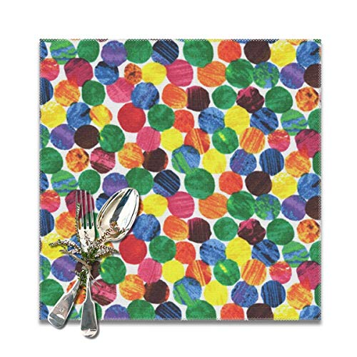 best gift Placemats for Dining Table,stylish The Very Hungry Caterpillar Abstract dots Non-Slip Insulation Placemat Washable PVC Polyester for Kitchen Banquet Party,Set of 6, 12x12 inch