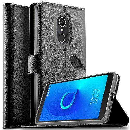 KuGi Alcatel 3C Hülle, Alcatel 3C Wallet Case, Brieftasche Case Hülle PU Kunstleder Flip Case mit Standfunktion Kartenfächer und Bargeld für Alcatel 3C Smartphone.Schwarz