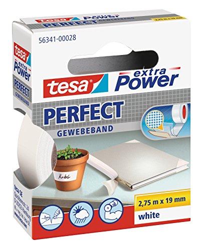 tesa extra Power® Spar-Set: 5x 56341-28-03 Perfect Gewebeband weiß 2,75m:19mm