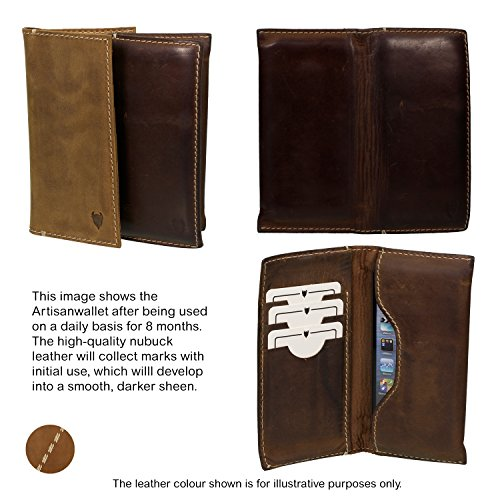 MediaDevil Artisanwallet Size 3 Smartphone Leather Case (Rustic Brown [Special Edition]) - Genuine Handcrafted Leather Wallet Pouch Case Blue