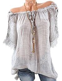Été Femme Tops Mi-Longue Casual Lâche Haut Tunique Dentelle Épissure Blouses Fashion Bateau Col Bandage Manches Courtes Chemisiers T-Shirts