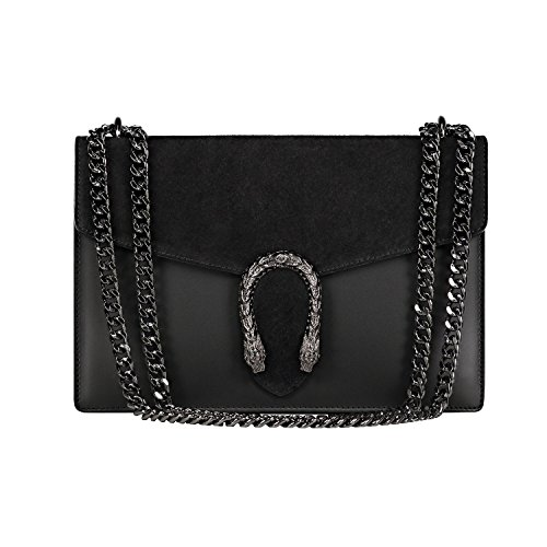 RONDA-Baugette-clutch-mini-bag-with-chain-and-metal-accessory-smooth-leather-and-suede-Made-in-Italy