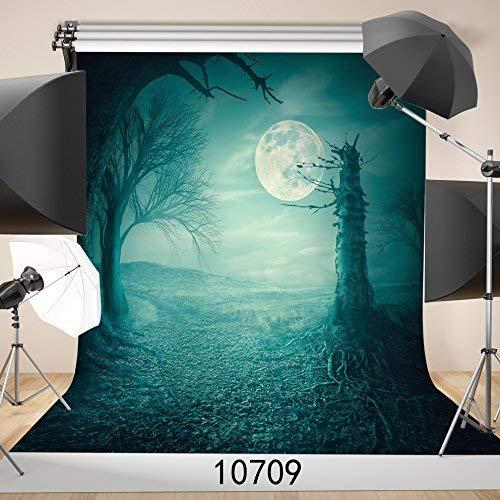 Fotohintergrund für Halloween, 10 x 3 m, Mond-Nacht, Kürbis-Licht -