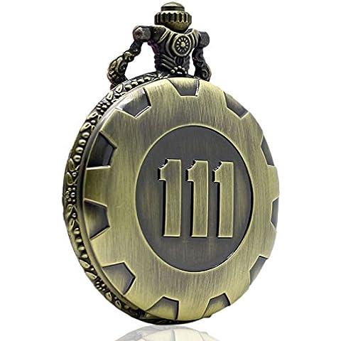 XIGEYA orologio da tasca, stile Vintage, con catenina, gioco Fallout 4 Vault 111, con pendente a forma di per orologio da taschino, in confezione regalo
