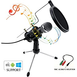 Micrófono de Condensador, Zexuan Portatil Micrófono de Condensador con 3.5mm Plug & Play Home Studio Profesión PC Micrófono para YouTube, Facebook Computadora, PC, Live Stream