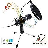 Zexuan PC und Handy Mikrofon, USB Condensator Mikrofon mit 3.5mm Plug & Play linke Aufnahme Podcast Vocal Aufzeichnung Mikrofone für Voice Aufnahmen, Live Periskop, Chatten, Handys, Youtube, Facebook