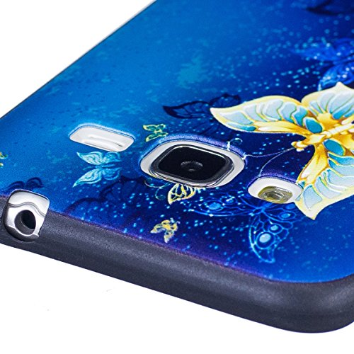 Coque Galaxy J3 2016, Étui Galaxy J3 2016, ISAKEN Coque pour Samsung Galaxy J3 2015/2016 - Étui Housse Téléphone le soulagement Étui TPU Silicone Souple Coque Ultra Mince Gel Doux Housse Motif Arrière or papillon bleu
