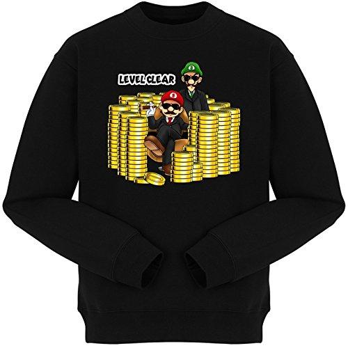 Pull Jeux Vidéo - Parodie Mario et Luigi - Level Clear :) - Pull Noir - Haute Qualité (664) Noir