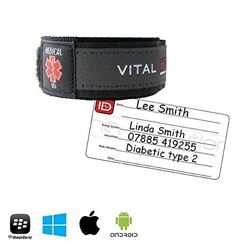 Vital ID Bracelet d'identification médicale imperméable pour enfant et adulte gris Noir/Anthracite moyen